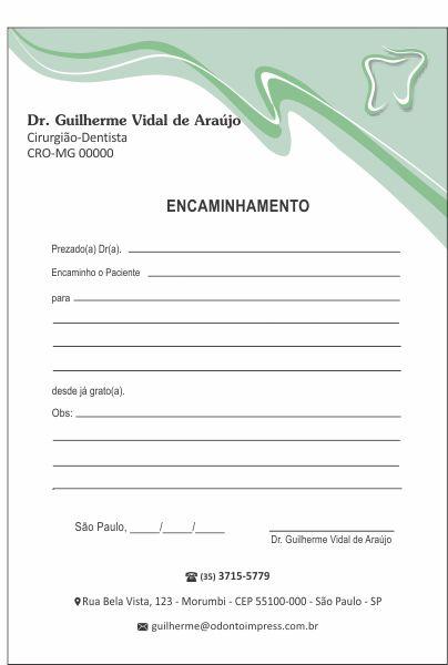 Bloco Encaminhamento Paciente - Ref. 0689  - Odonto Impress