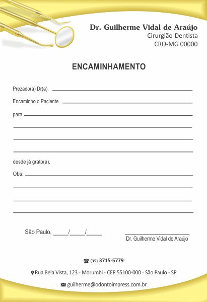 Bloco Encaminhamento Paciente - Ref. 0695  - Odonto Impress
