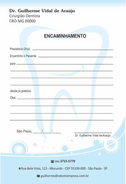 Bloco Encaminhamento Paciente - Ref. 0696  - Odonto Impress