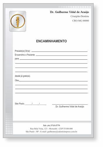 Bloco Encaminhamento Paciente - Ref. 3400