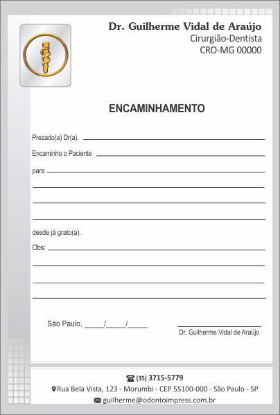 Bloco Encaminhamento Paciente - Ref. 3400  - Odonto Impress