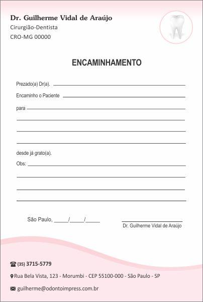 Bloco Encaminhamento Paciente - Ref. 3407  - Odonto Impress