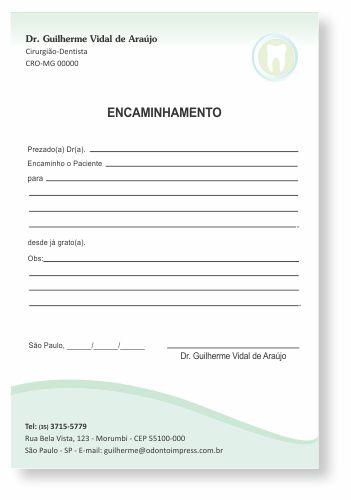 Bloco Encaminhamento Paciente - Ref. 3410  - Odonto Impress