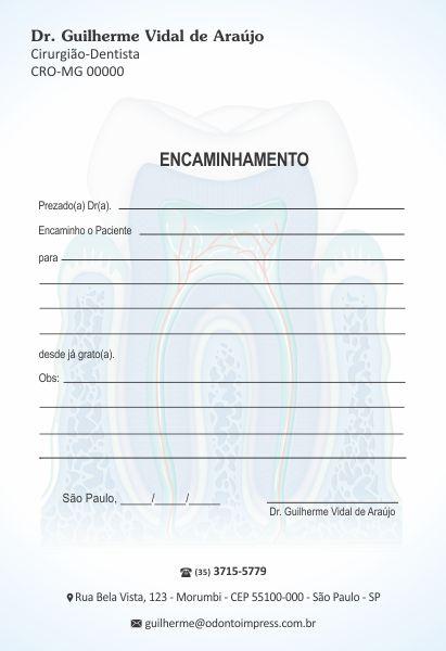 Bloco Encaminhamento Paciente - Ref. 3451  - Odonto Impress