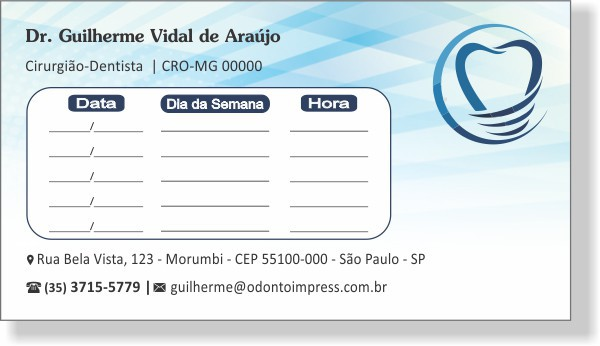 Cartão de Retorno IMPLANTODONTIA - Ref. 2057  - Odonto Impress