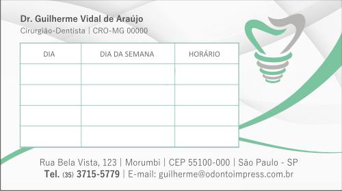 Cartão de Retorno IMPLANTODONTIA - Ref. 2058