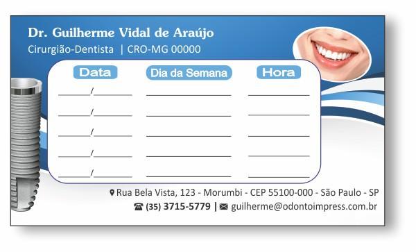 Cartão de Retorno IMPLANTODONTIA - Ref. 2062  - Odonto Impress