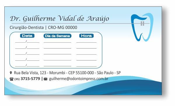 Cartão de Retorno ORTODONTIA - Ref. 2075