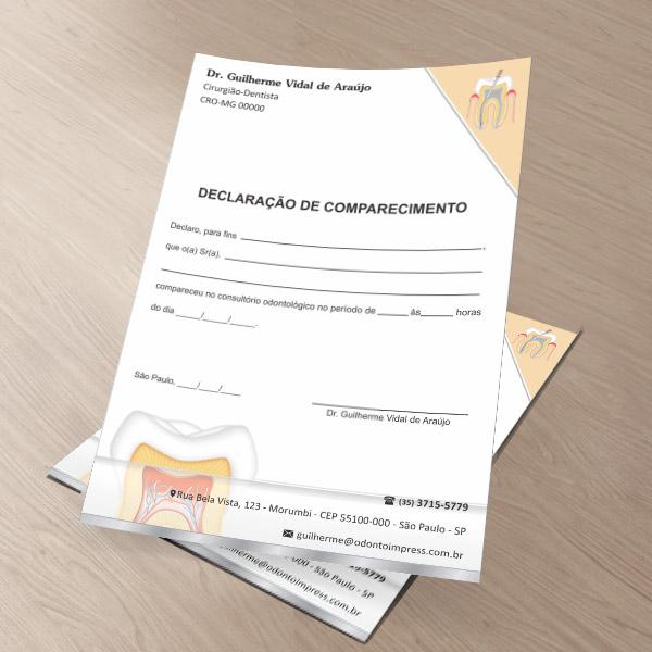 Declaração de Comparecimento ENDODONTIA - Ref. 3552
