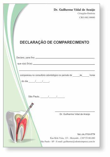 Declaração de Comparecimento ENDODONTIA - Ref. 3553