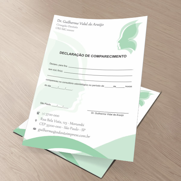 Declaração de Comparecimento HOF - Ref. 0478  - Odonto Impress