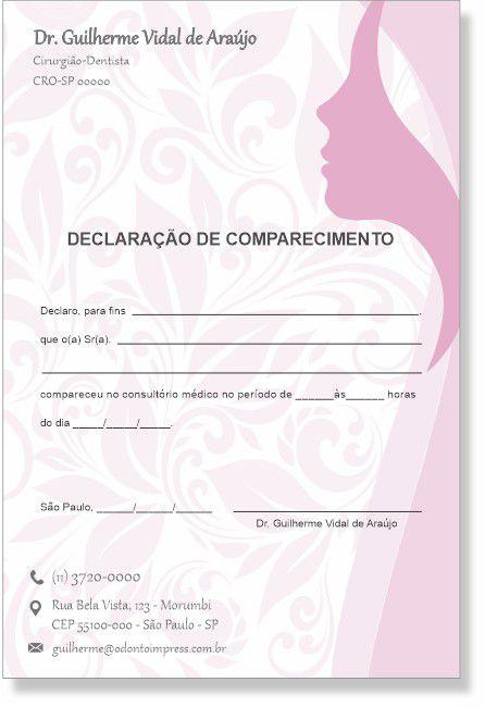 Declaração de Comparecimento HOF - Ref. 0482  - Odonto Impress