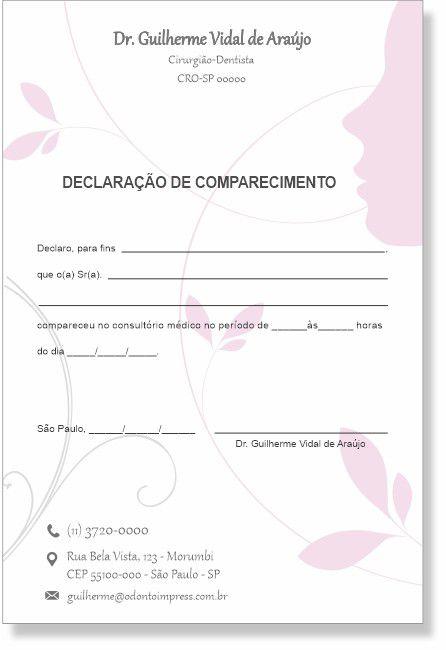 Declaração de Comparecimento HOF - Ref. 0477  - Odonto Impress