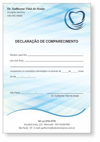 Declaração de Comparecimento IMPLANTODONTIA - Ref. 3556  - Odonto Impress