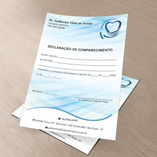 Declaração de Comparecimento IMPLANTODONTIA - Ref. 3556