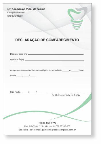Declaração de Comparecimento IMPLANTODONTIA - Ref. 3557