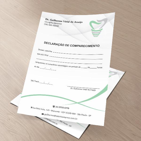 Declaração de Comparecimento IMPLANTODONTIA - Ref. 3557  - Odonto Impress