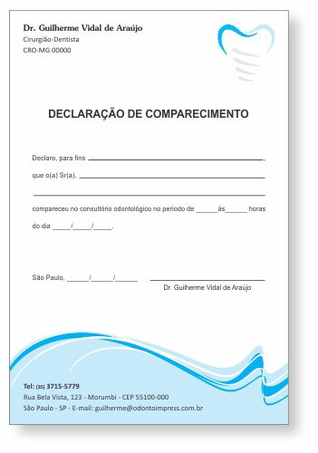 Declaração de Comparecimento IMPLANTODONTIA - Ref. 3558