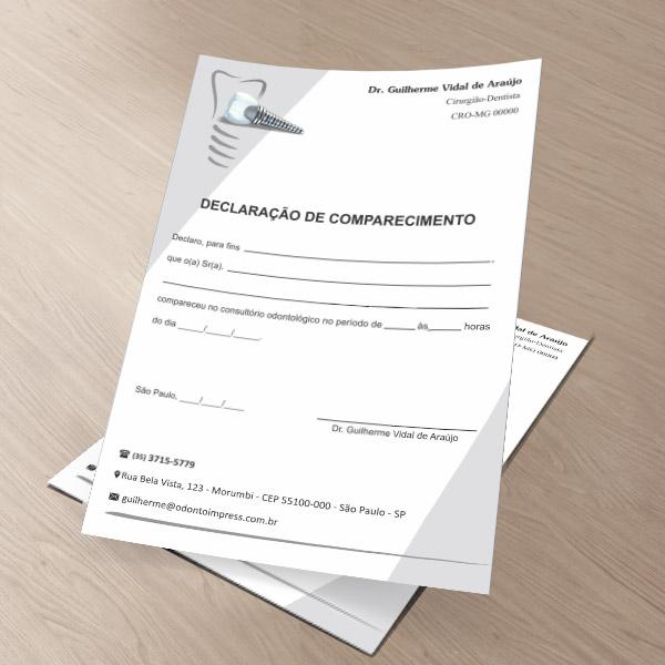 Declaração de Comparecimento IMPLANTODONTIA - Ref. 3559  - Odonto Impress