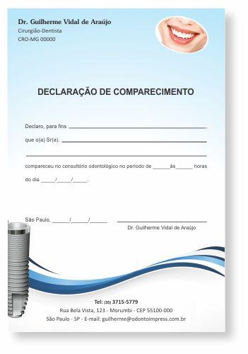 Declaração de Comparecimento IMPLANTODONTIA - Ref. 3560