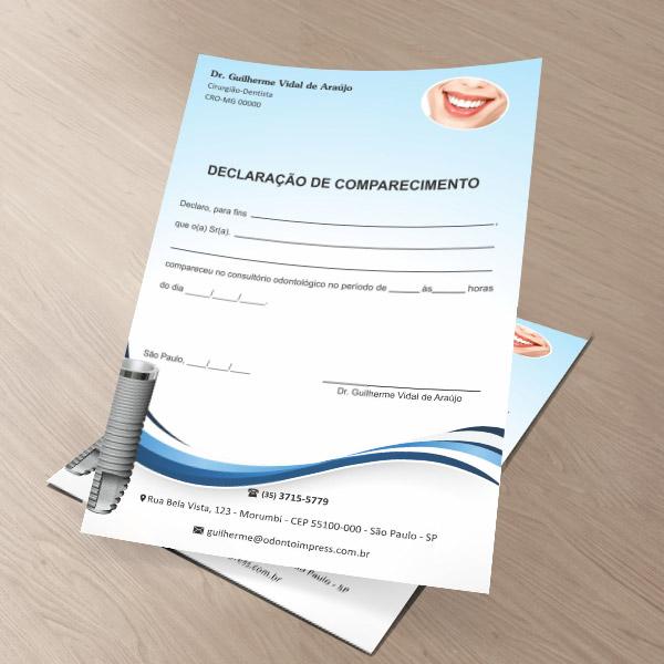 Declaração de Comparecimento IMPLANTODONTIA - Ref. 3560  - Odonto Impress