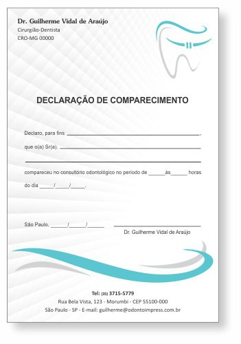 Declaração de Comparecimento ORTODONTIA - Ref. 3566  - Odonto Impress