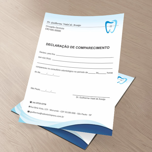 Declaração de Comparecimento ORTODONTIA - Ref. 3568