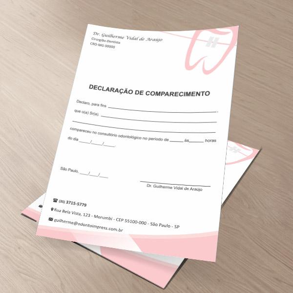 Declaração de Comparecimento ORTODONTIA - Ref. 3569
