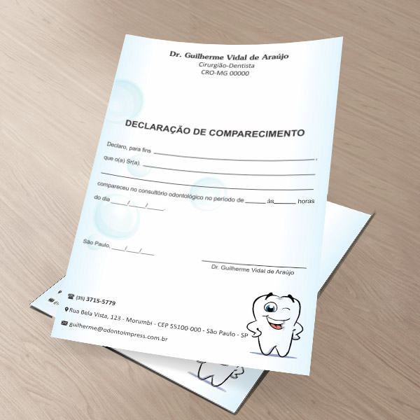 Declaração de Comparecimento PEDIATRIA - Ref. 3531