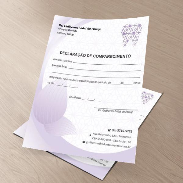 DECLARAÇÃO DE COMPARECIMENTO - REF. 0412