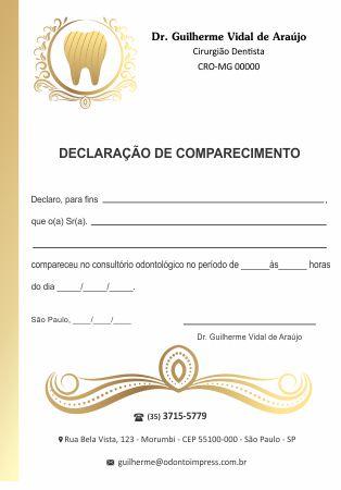 DECLARAÇÃO DE COMPARECIMENTO - REF. 0416  - Odonto Impress