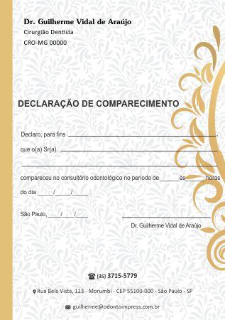 DECLARAÇÃO DE COMPARECIMENTO - REF. 0417  - Odonto Impress
