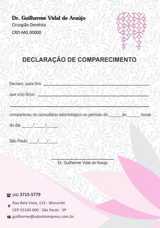 DECLARAÇÃO DE COMPARECIMENTO - REF. 0470  - Odonto Impress