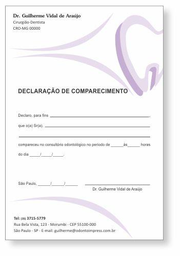 Declaração de Comparecimento - Ref. 0488  - Odonto Impress