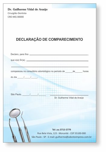 Declaração de Comparecimento - Ref. 0493  - Odonto Impress