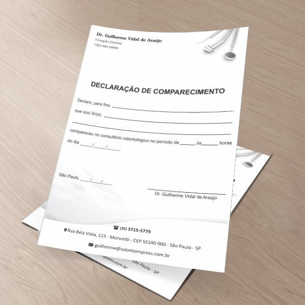 Declaração de Comparecimento - Ref. 0499