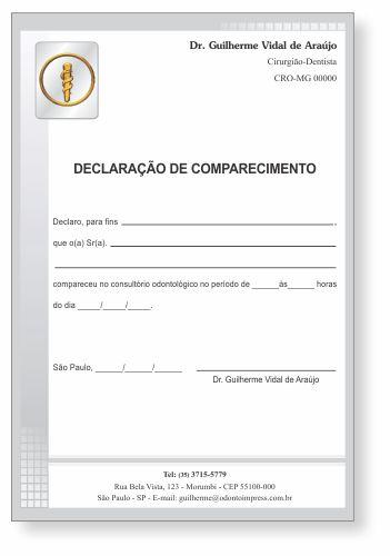 Declaração de Comparecimento - Ref. 3500  - Odonto Impress