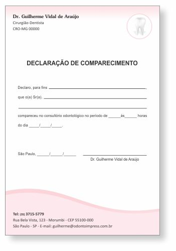 Declaração de Comparecimento - Ref. 3507  - Odonto Impress