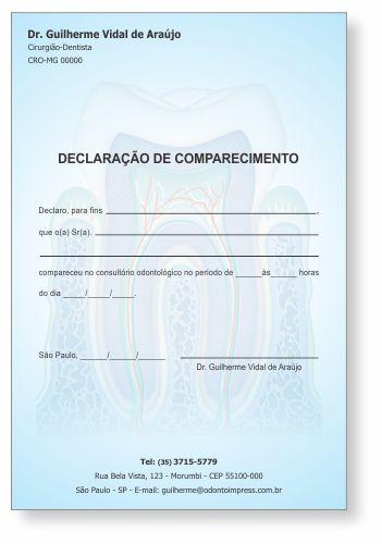 Declaração de Comparecimento - Ref. 3551  - Odonto Impress