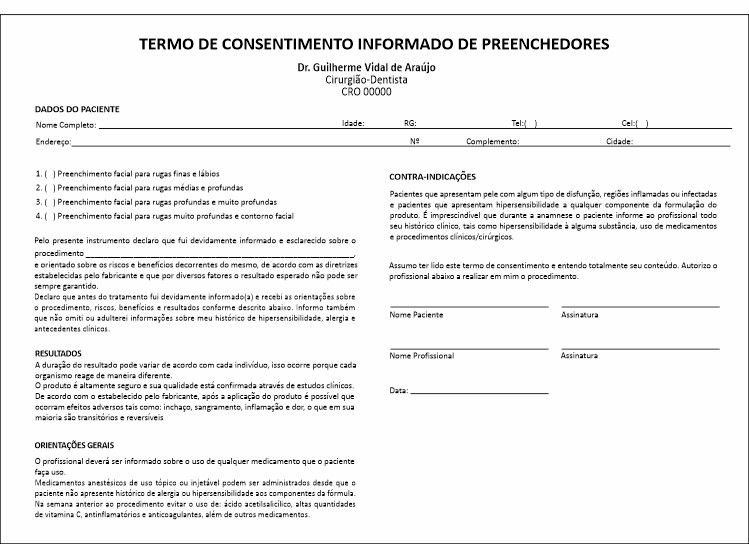 Formulário de Aplicação Preenchedores + Termo de Consentimento - Ref 2110  - Odonto Impress