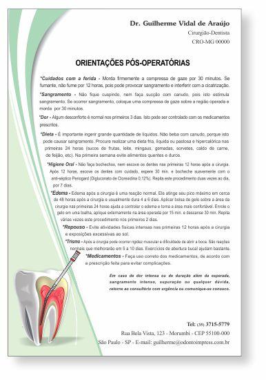Orientações Pós-Operatórias ENDODONTIA - Ref. 3353