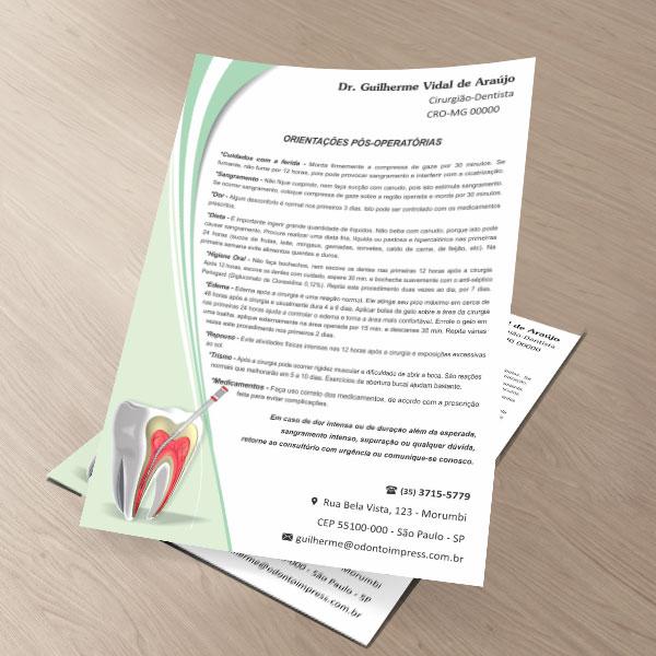 Orientações Pós-Operatórias ENDODONTIA - Ref. 3353  - Odonto Impress