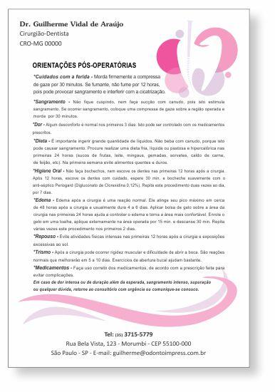 Orientações Pós-Operatórias ENDODONTIA - Ref. 3354  - Odonto Impress