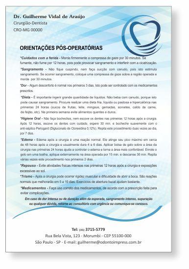 Orientações Pós-Operatórias IMPLANTODONTIA - Ref. 3356