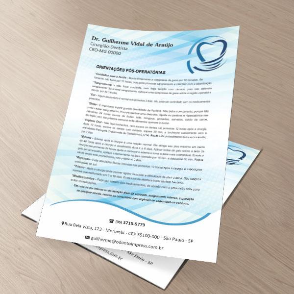 Orientações Pós-Operatórias IMPLANTODONTIA - Ref. 3356  - Odonto Impress