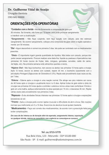 Orientações Pós-Operatórias IMPLANTODONTIA - Ref. 3357