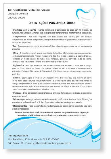 Orientações Pós-Operatórias IMPLANTODONTIA - Ref. 3358