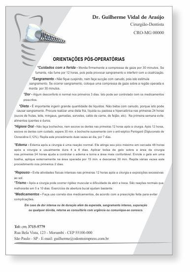 Orientações Pós-Operatórias IMPLANTODONTIA - Ref. 3359