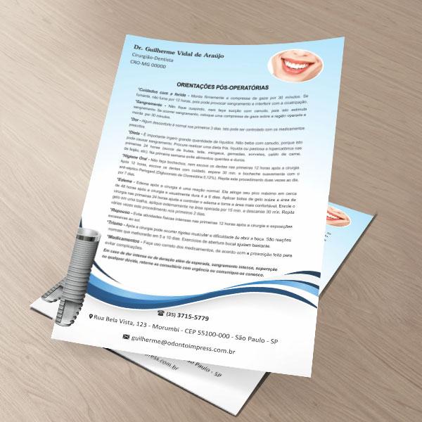 Orientações Pós-Operatórias IMPLANTODONTIA - Ref. 3360