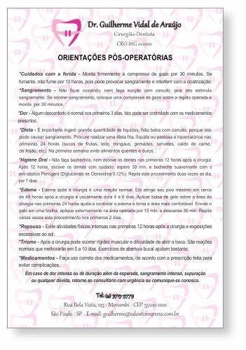 Orientações Pós-Operatórias ORTODONTIA - Ref. 3365